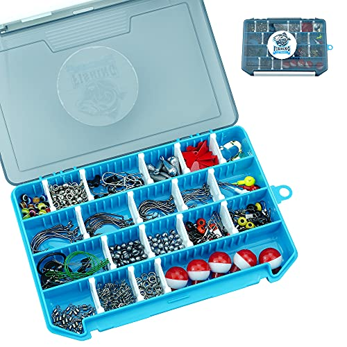 pheanto 322PCS Fishing Accessories Kit Set Including Jig Hooks, Off Set Hook,Drop Shot Hook, Bass Casting Sinker Weights, Fishing Line Beads with Tackle Box, PJHX-Blue