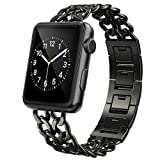 AmzAokay Replacement bands Compatible for Apple Watch 38mm 42mm Stainless Steel Metal Cowboy Chain Strap Wrist Band for Apple Watch 40mm 44mm Series 6 SE 5 4 3 2 1 Sport and Edition(Black, 38mm/40mm)