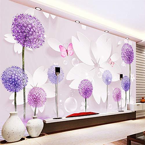 Fototapete 3D Lila Löwenzahnschmetterling Moderne Vlies Tapete Wandbilder Wandtapete Wand Dekoration für Kinderzimmer Schlafzimmer 200CMx140CM