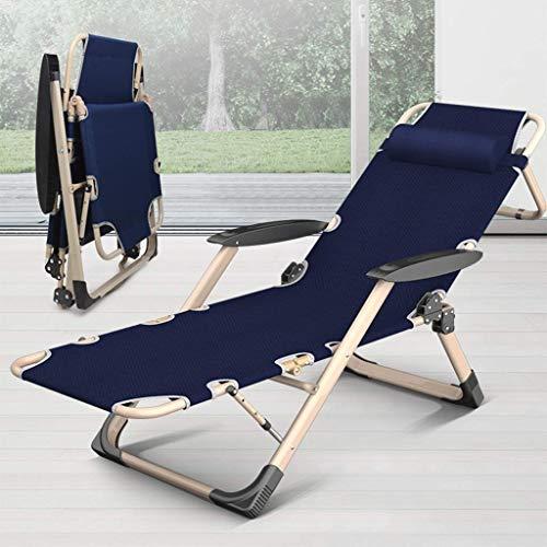 Tumbona de gravedad resistente sillas plegables reclinables para jardín al aire libre y patio (color: azul)