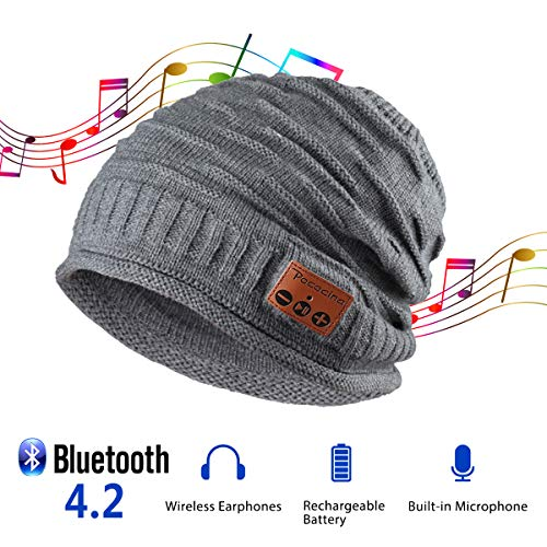 Pococina Upgraded 4.2 Bluetooth Beanie Music Hat Winter Knit Hat Cap Wireless Headphone Musical Speaker Beanie Hat as Christmas Birthday Gifts for Men Women Teen Girls Boys, Built-in Mic - 012 Gray