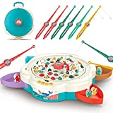 LOVE LIFE Fishing Game Toy Set Electronic Fishing Toy with Rotating Board,Music,Story,42 Magnetic Fishes and 6 Fishing Poles,Educational Toys Preschool Gift for Toddlers,Kids,Children