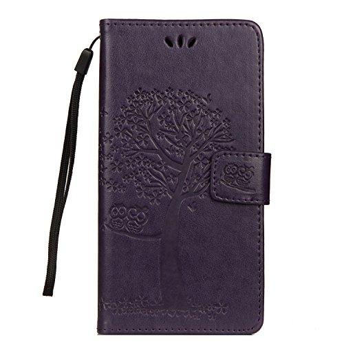 JAWSEU Kompatibel mit LG G7 ThinQ Hülle Leder Flip Hülle Wallet Tasche Cover Hüllen Eule Baum Muster PU Handyhülle Brieftasche Etui Schutzhülle Handytasche Magnetisch Ständer,Lila