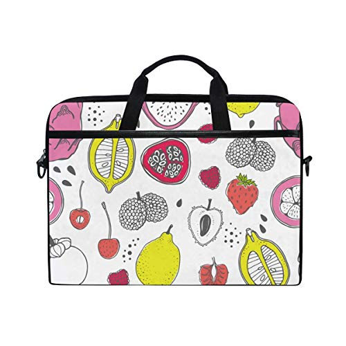 Laptop Sleeve Case,Laptop Bag,Tropical Fruit Papaya Fig Pear Peach Mangosteen Lychee Water Briefcase Messenger Notebook Computer Bag with Shoulder Strap Handle,28.5×38 CM/14 Inch