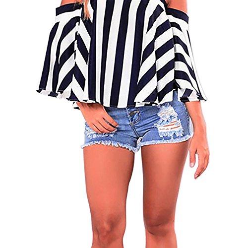 riou Mujeres Slim Pantalones Cortos de Mezclilla Cortos Rotos Short Mini Jeans Denim Sexy Pantalones de playa de Verano Suave Casual Pantalón de Chándal con Bolsillo