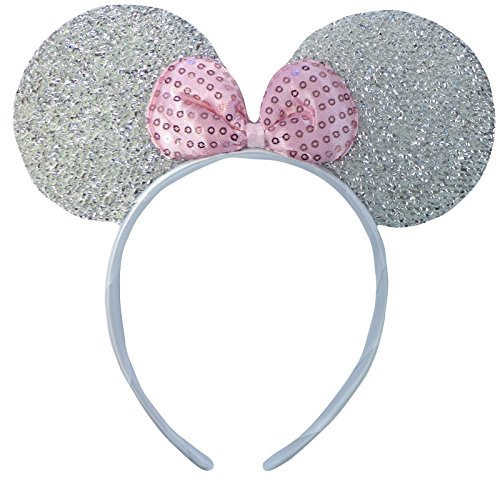 Silber (Minnie Mouse Glitter Ears) Glitzernden Minnie Maus Ohren Kostüm Haarband