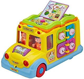 ToyThrill Developmental Yellow School Bus Musical Toy 8 Activity Games, Automatic Rides, Lights and Music and Swinging Little People: Best Educational Learning for Baby, Toddlers and Kids Ages 1 Yrs
