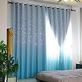 Estrellas cortinas opacas,Cortinas de ventana de doble capa,Gasa de degradado de...