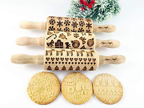 Weihnachten 3-er SET Kinder Nudelhölzer Teigrolle für hausgemachtes Gebäck. Weihnachten Teigrolle. Gravierte Nudelholz. Gravierte Teigroller mit Muster. Engraved rolling pin