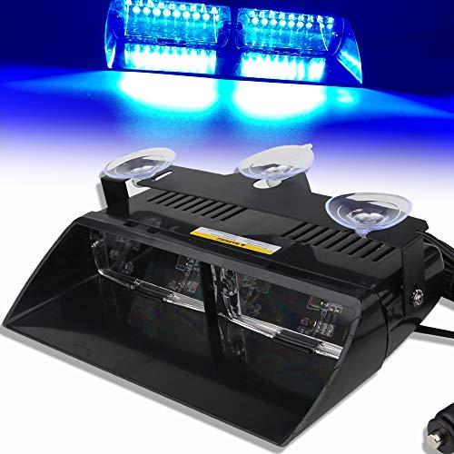 12V Azul 16 LED Alto Brillo Aplicación de la Ley Baliza de Emergencia Advertencia de peligro Luz Estroboscópico Flash Para Techo interno/Tablero de instrumentos/parabrisas con ventosa