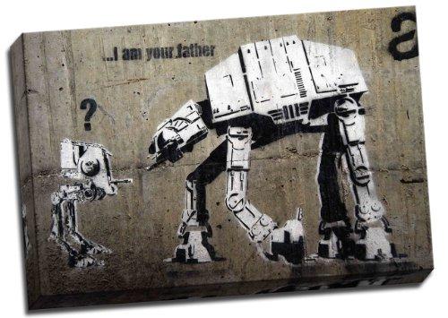 Banksy Star Wars At-At I Am Your Father Graffiti - Lienzo enmarcado...