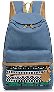 Lightweight Student Fashion Backpack for School canvas school bag Fashion Canvas School Backpack for Teenagers Girls/Boys BPTN11 (Light Blue)