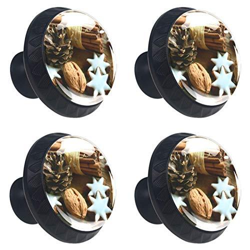 KAMEARI Palos de Navidad con diseño de estrellas de canela, 4 unidades, tiradores de cajón con forma de círculo, de cristal, con tornillos, para el hogar, la cocina, la oficina