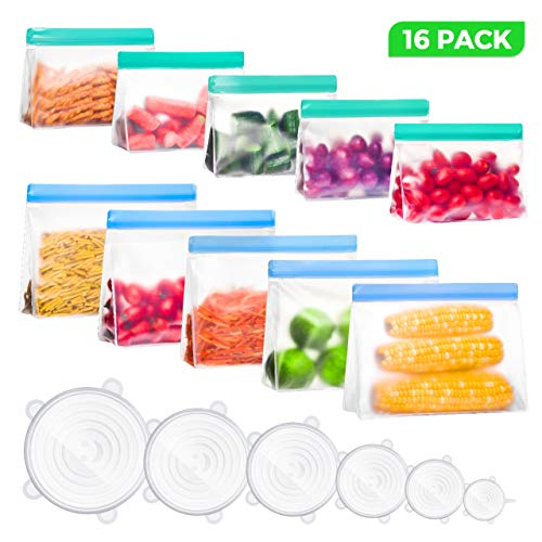 16 Pack Reusable Silicon Food Storage Bags & Silicone Stretch Lids, LARMHOI Reusable Snack Sandwich Bags, Eco-friendly Leakproof Stand-UP Reusable Freezer Bags for Lunch, Fruits, Vegetables, Leftov
