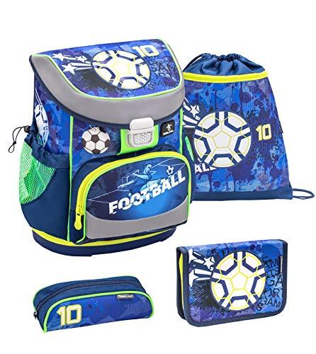 Belmil ergonomischer Schulranzen Set 4 -teilig für Jungen 1, 2 Klasse Grundschule/Super Leicht 760-820 g/Brustgurt/Fußball, Football/Blau, Blue (405-33 Soccer Sport)