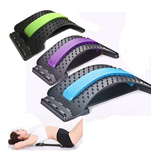 Dispositivo de estiramiento de espalda, herramientas de masaje de estiramiento de cuello, terapia de alivio del dolor de la cintura espinal, cómodo soporte camilla espinal (negro+púrpura)
