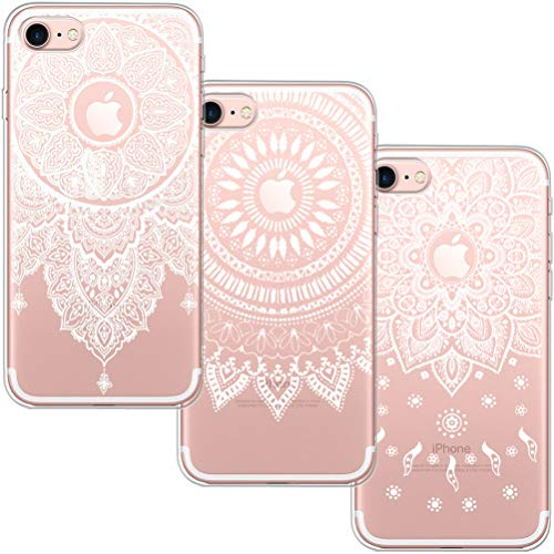 [3 Pack] Funda iPhone 6 Plus, Funda iPhone 6S Plus, Blossom01 Funda Ultrafina Suave Funda de Silicona TPU con Linda Caricatura para iPhone 6 Plus/iPhone 6S Plus - 3 * Mandala