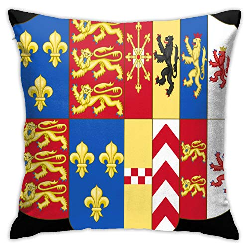 jhgfd7523 Throw Pillow Cover Royal Coat of Arms of The United Kingdom Royal Decorative Pillow Case Home Decor Square 18x18 Inches Pillowcase