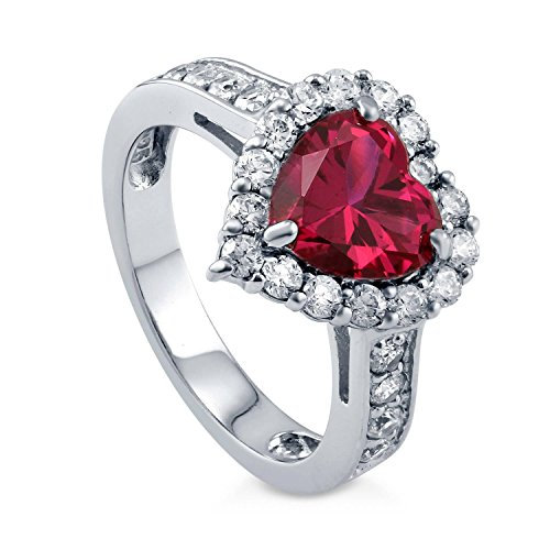 BERRICLE Rhodium Plated Sterling Silver Simulated Ruby Heart Shaped Cubic Zirconia CZ Halo Wedding...