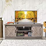 JAXPETY Wooden Farmhouse Style 58 Inch TV Stand w/ Storage Shelves, Entertainment Center and Sliding Wood Barn Doors, Television Stands Cabinet Console for Living Room Bedroom, Rustic Natural