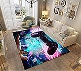 Alfombras Dormitorio Juvenil Chico Chica Infantiles Niño Adulto Juegos 3D Gamer Video Alfombras De Habitacion Rectangular Lavables Grandes Pequeñas Alfombras Salon (Azul Rosa,100x150 cm)