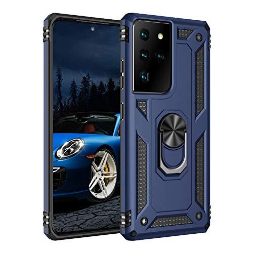 Funda para Samsung Galaxy S21 Ultra 5G, funda de protección estándar militar 360 grados, antigolpes,2 en 1 de policarbonato duro + silicona TPU, carcasa rígida para Galaxy S21 Ultra 5G (azul)