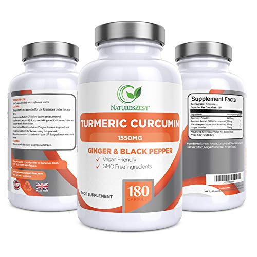 Turmeric Curcumin 1550mg with Black Pepper & Ginger - 180 Vegan High Strength Turmeric Capsules 3 Month Supply, Advanced Turmeric Formula by Natures Zest, UK Made