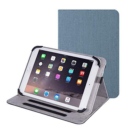Funda para tablet de 10.1 pulgadas, funda universal de lino con soporte para tablet Samsung Galaxy Tab A Lenovo Tab MediaPad T5 TECLAST de 10.1 pulgadas, 10.3 pulgadas, 9.7 pulgadas, Android 10 (azul)