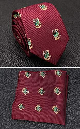 XXYHYQHJD Hommes Cravate Lavallière Set Cravate de Mariage de Mode for Hommes Hanky Cravate rayée Dot Tie Cravate Jacquard Parti Social Accessoires (Color : LD R1 G7, Size : One Size)