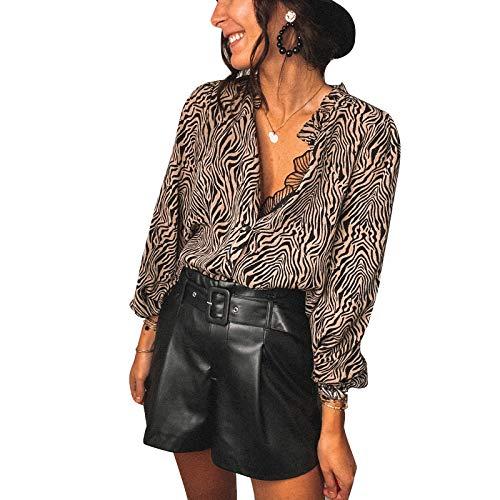 Loalirando Camicia Donna in Pizzo a Manica Lunga Elegante Sexy Scollo a V Serata Clubwear Sottile Casual (Beige, M)