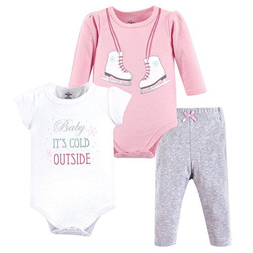 Little Treasure Baby Cotton Bodysuit and Pant Set, Ice Skates, 0-3 Months