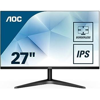"AOC 27B1H 27"" Full HD 1920x1080 Monitor, 3-Sided Frameless, IPS Panel, HDMI/VGA, Flicker-free"