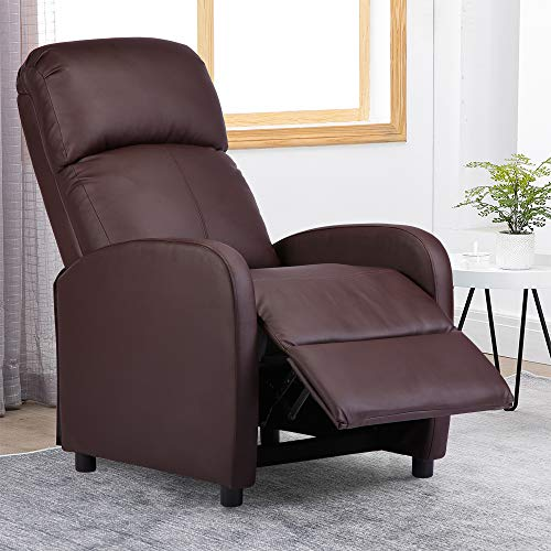 BonChoice Faux Leather Recliner Chairs Retro Brown, High Back Occasional Armchair Sofa Chair for Living Room Bedroom Fireside Adjustable Lounge Reclining Chair (PU Leather: Simple Brown)
