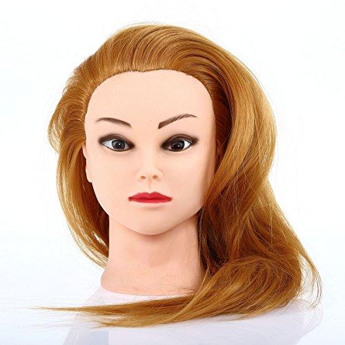 Besmall Tête à Coiffer Professionnel 30% cheveux humains poils de chameau Réistante à haute tempéature 63cm Tête d'exercice pour le Salon Coiffeur-Cadeau