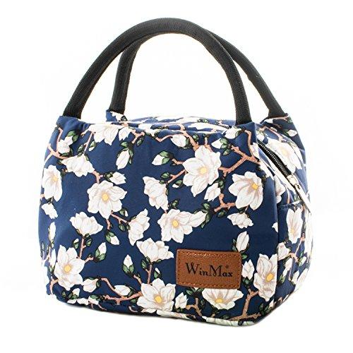 Winmax Isolierte Lunch-Tasche für Erwachsene, Kinder, Damen, Herren, Lunchboxen, Picknick-Taschen, Kühltasche, Bento-Box, für Campen, Reisen weiße blumen