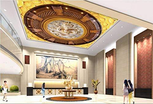 Aanpasbaar dak Schilderij Plafond Mural Woonkamer Slaapkamer Plafond Mural Decoratie Niet-Geweven Fabric-Europese Dome Relief Chinese Draak 360cm(W) x 230cm(H) (11'10