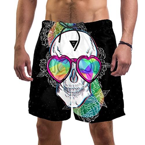 Haminaya Bañador para Hombre Cráneo Mareado Trajes De Baño Secado Rápido Bañadores De Natación Impresión Swim Trunks Short De Playa para Piscina Surf Playa XL