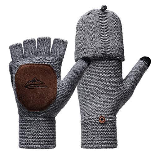 Homealexa Winter Handschuhe Damen Fingerlose Handschuhe Baumwolle Halb Fingerhandschuhe mit Flip-Top, Warme Strick Handschuhe für Damen und Herren (Grau)