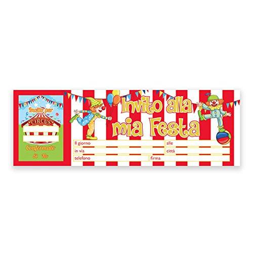 Inviti Festa Compleanno Circo Circus - Blocchetto da 20 pz.