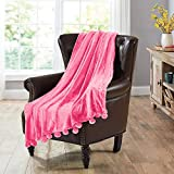 Home Soft Things Pompom Bed Couch Throw Blanket, 50'' x 60'', Festival Fuchsia, Fuzzy Soft Comfy Warm Decorative Throw Blanket for Living Room Bedroom Suitable for All Seasons