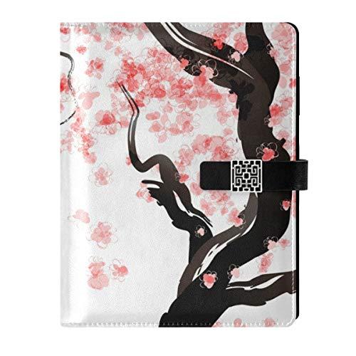 Cuaderno de piel para diario de viaje, diseño de cerezo japonés, rellenable con flores de cerezo y anillas, tapa dura, regalo para hombres y mujeres