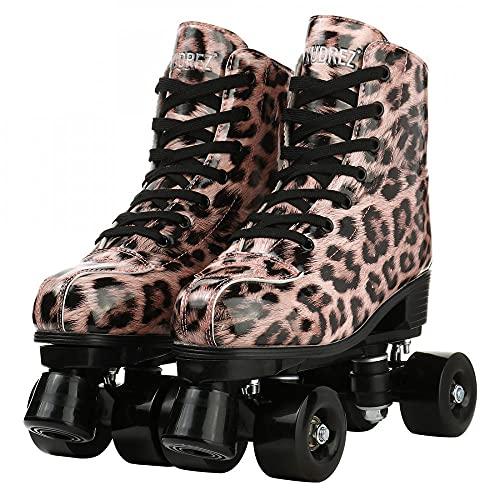 AYES Damen-Rollschuhe, zweireihig, verstellbar, Leder, hohe Oberseite, Gummi, bedruckt, Leoparden-Rollschuhe, perfekt für drinnen und draußen, für Erwachsene (Leopardenmuster, schwarzes Rad, 38)