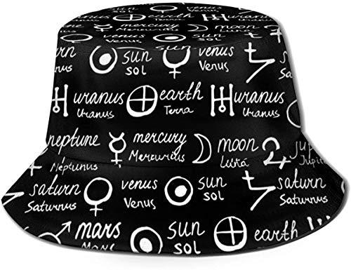 BONRI Sombrero de Cubo Unisex Símbolos de alquimia de Moda Gorra de Pescador Plegable UV Negro