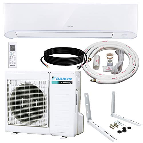 Daikin 9,000 BTU 17 SEER Wall-Mounted Ductless Mini-Split Inverter Air Conditioner Heat Pump System 15 Ft. Installation Kit & Wall Bracket (230 Volt) 10 Year Limited Warranty