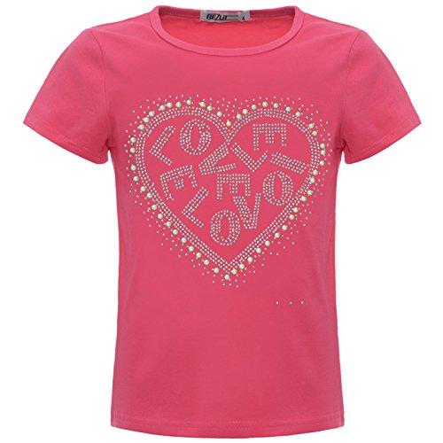 BEZLIT Mädchen Kinder Glitzer T-Shirt Oberteil Herz Kunst-Perlen 22540 Pink 152
