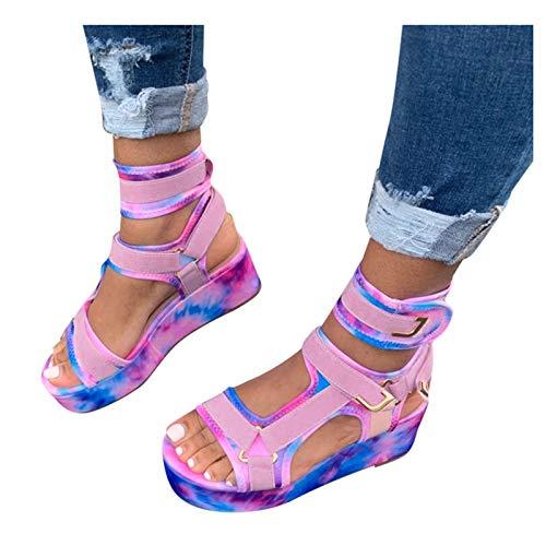 Nuevo 2021 Sandalias Mujer Verano Moda Elegante Zapatos de plataforma Cuña Velcro Bar Zapatos de Boca de Pescado Playa Zapatillas Sandalias de Punta Abierta casual Fiesta Tacones Altos Sandalias