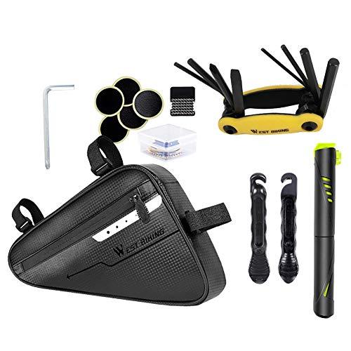 Richaoll Fahrradrahmentasche, 3L Fahrraddreieck-Tasche Vorderrohr wasserdichte Fahrrad-Packtasche mit reflektierenden Streifen Fahrradpumpe Fahrradreparatur-Werkzeugsätze Multi-Tool-Set