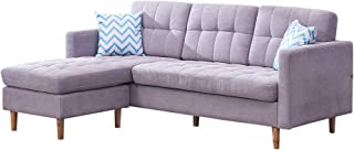 Modern Sectional Reversible Sleeper Sectional Sofa,L Type Couches and Sofas with Linen Fabric for Small Space,83