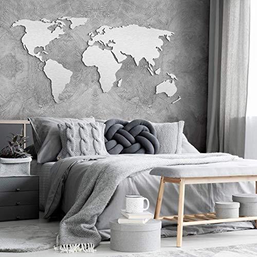 K&L Wall Art Alu-Dibond Silbereffekt 3D Weltkarte Worldmap Welt Länder (200x 100cm, Silber)
