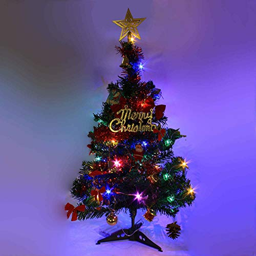 24'/60cm Tabletop Xmas Tree, Artificial Mini Christmas Pine Tree with LED String Lights & Ornaments (Green)